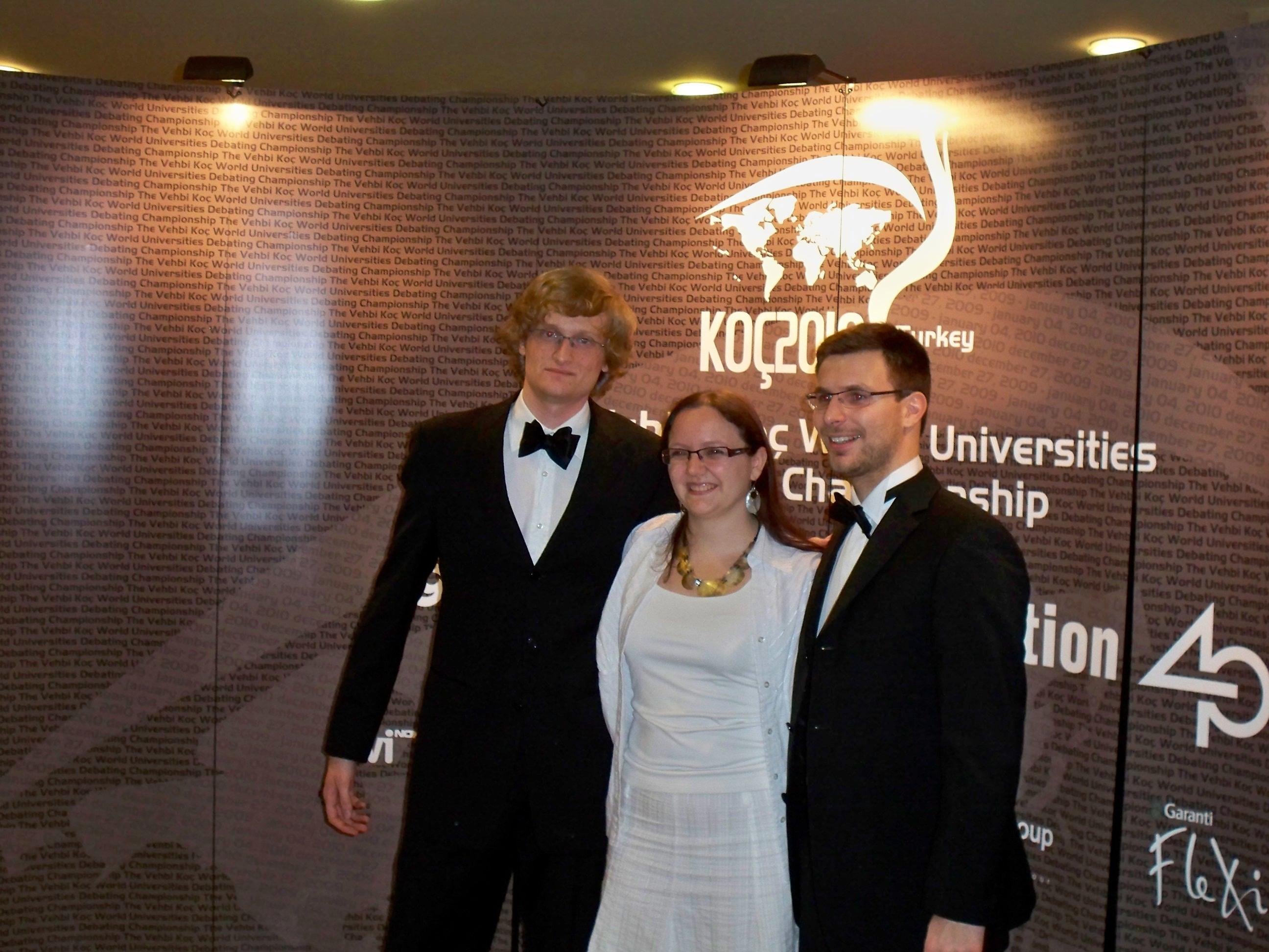 Koç Worlds 2010 - Team Austria: Leonhard Weese, Sabine Reinalter, Lukas Grill (left to right)