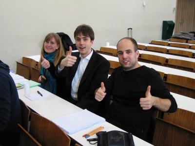 Drei der vier fraktionsfreien Redner in einem Halbfinale des Rheingötter-Debattierwettstreits.