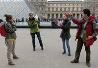 Casual (deadly serious) practice debate in front of the Louvre