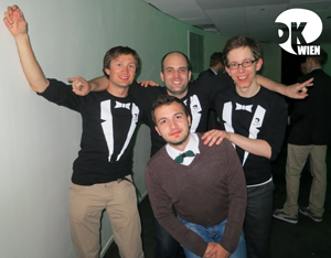 Stefan, Christoph, Andreas and Calin (BBU) partying at the break night