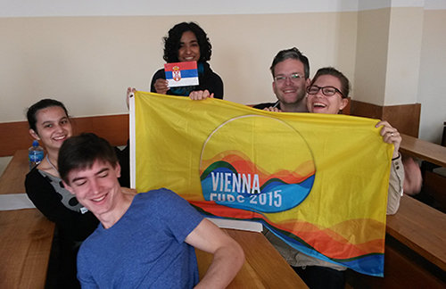 Vienna Delegation at Arandjelovac Open - and the Vienna EUDC flag!