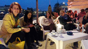 Relaxed vibes at the Friday evening social at Tel Aviv beach
