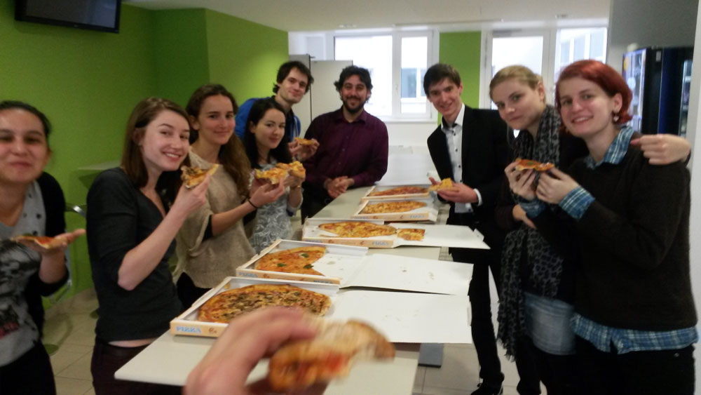 Well deserved Pizza for everyone after the results were announced on Friday.