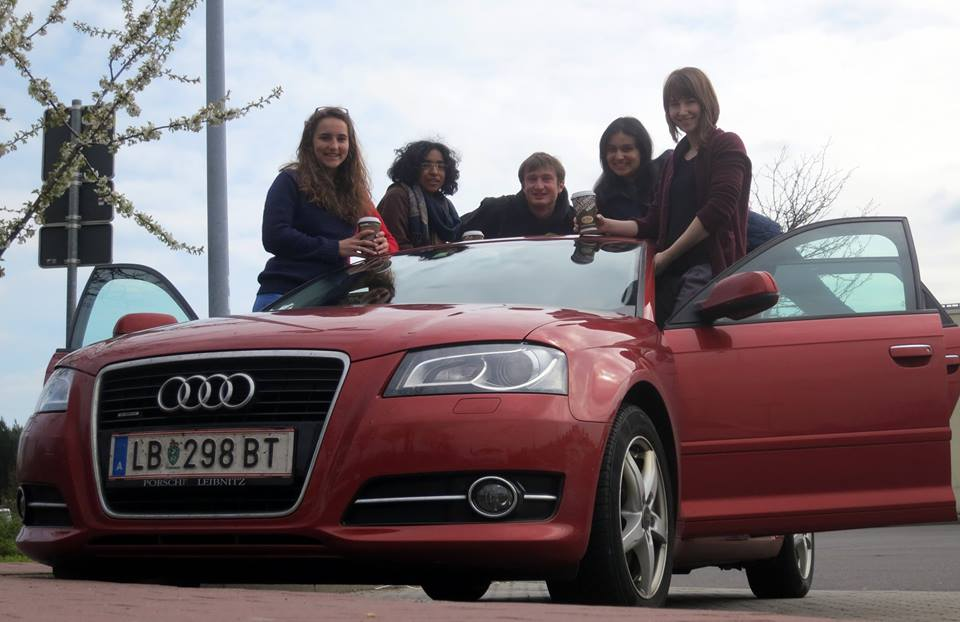 The Contingent of Speedaholics (Anne-Claire Sanna, Regina Puthenpurayil, Stefan Zweiker, Yasmin Fareed, Madlen Stottmeyer) Speedy drivers on their way to Berlin IV 2014.