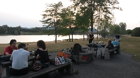 Barbeque at the Danube following the DKWien Australs Night tradition