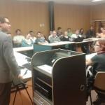 Montagsdebatte beim Debattierklub Wien im Juridicum der Universität Wien. Roman hält den Impulsvortrag zu Beginn.
